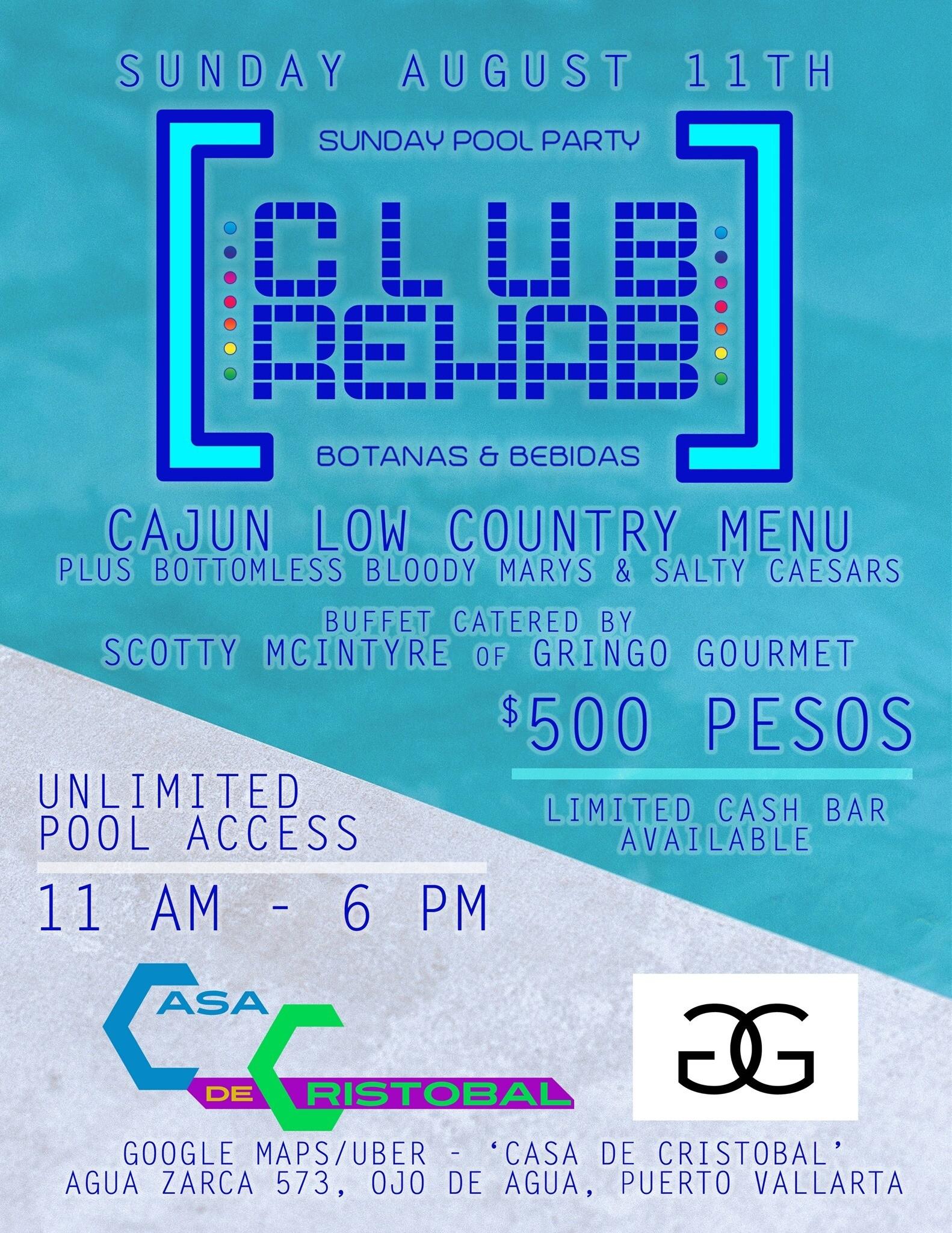 club rehab sunday pool party