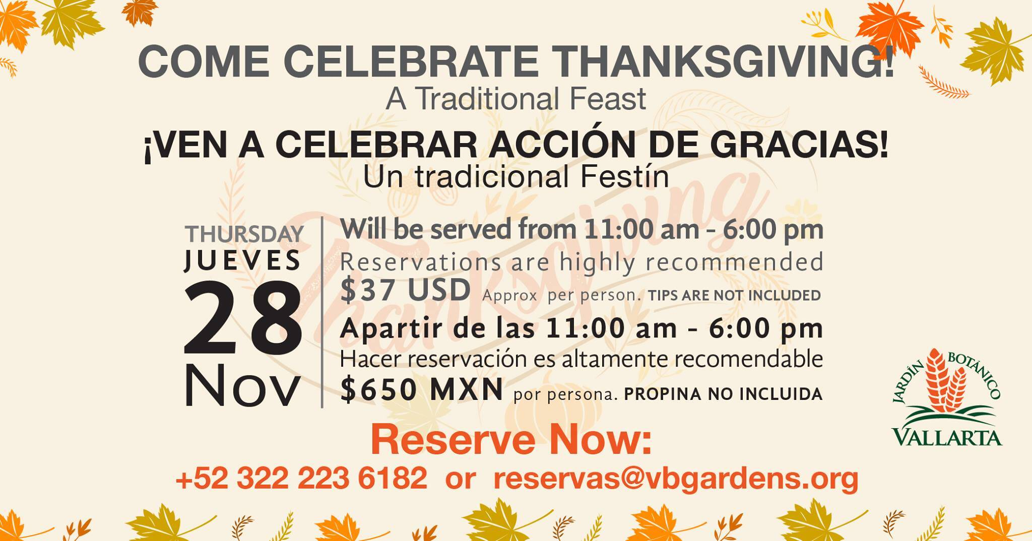 Come celebrate thanksgiving Vallarta Botanical Garden 2019